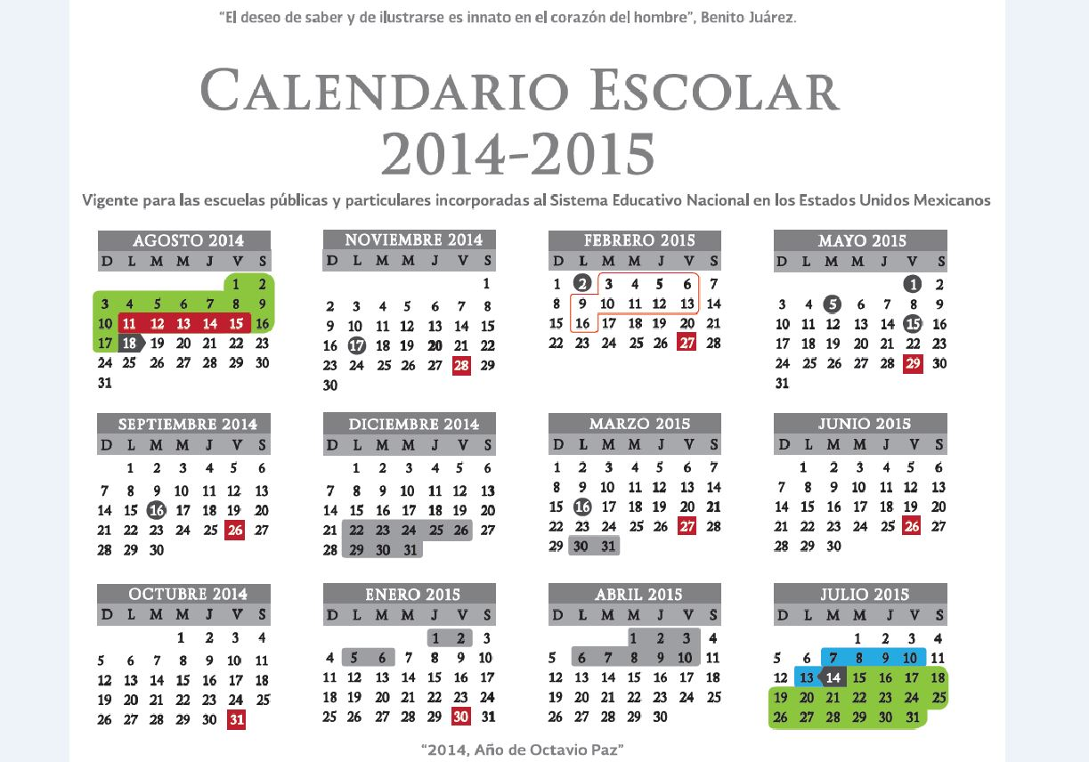 Calendario Escolar Oficial SEP 2014-2015 | Ing. / Lic. Victor ...