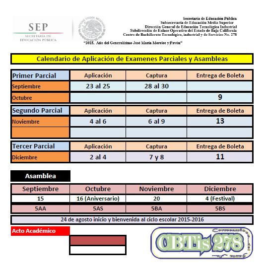 Calendario Ago 2015 - Enero 2016 Calificaciones